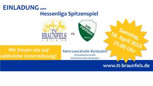 Einladung zum Spiel Braunfels gegen Fehlheim