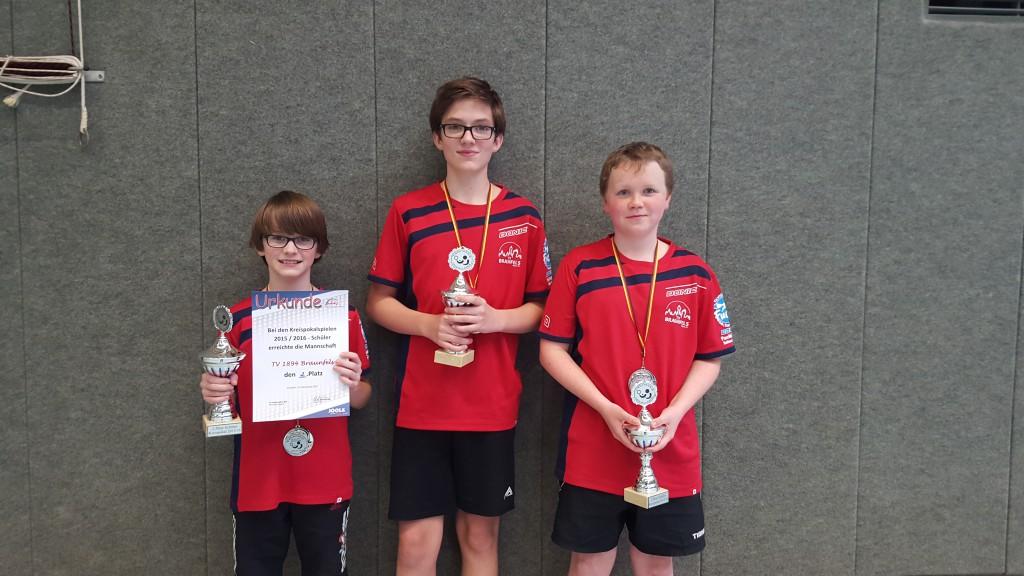 Auf dem Bild die Vizekreispokalsieger v.l.: Mika-Swen Crass, Olé Crass und Niklas Wenisch
