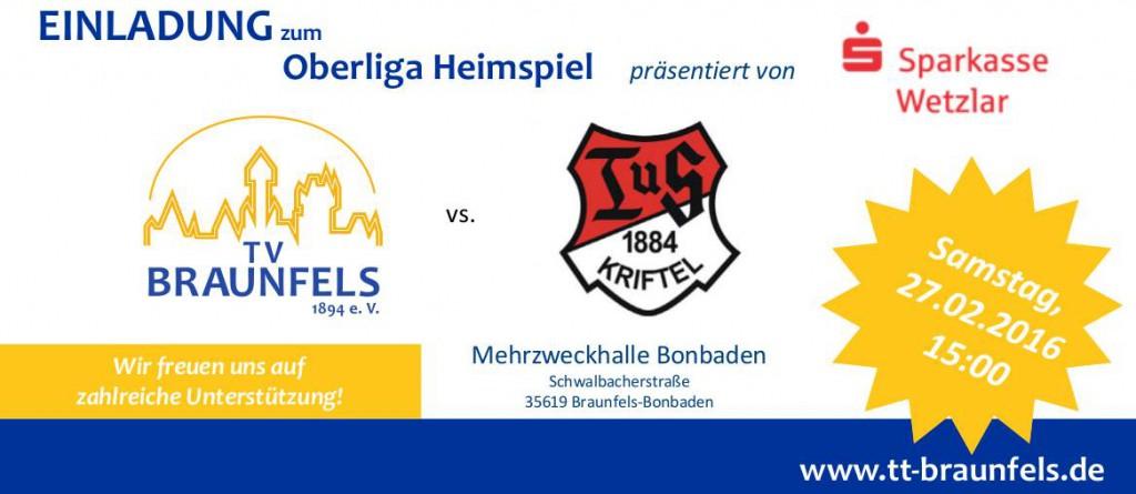 Spielvoranküdigung TV Braunfels - TuS Kriftel